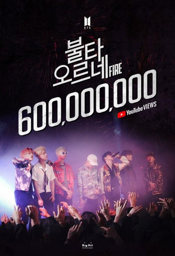 BTS 'Fire' MV surpasses 600M views